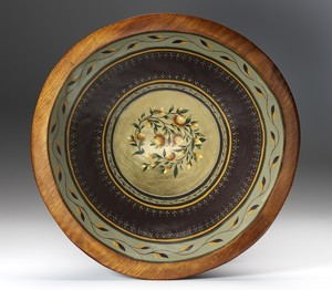 gilded and painted wood bowl floral sage mahogany