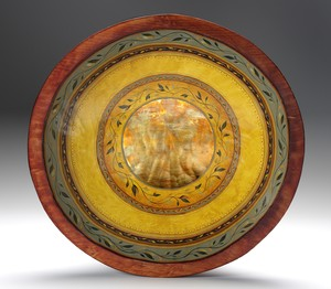 hand-painted  gilded carved pine wood bowl sage ochre