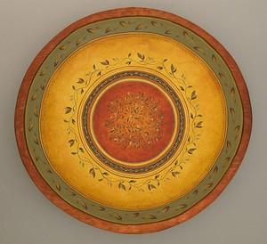 tuscan garden round wooden bowl