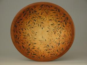 woven vine round turned beechwood handpainted bowl